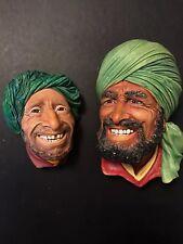 VINTAGE Bossons Punjabi & Kurd Chalkware Head Wall Plaque Congleton England