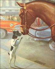 Fox Terrier Greets Police Horse, vintage print, authentic 1955