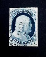 US Stamps, Scott #9 1852 1c 'used' Type IV 2018 GC XF 90