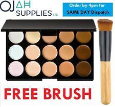 15 COLOURS corrector paleta Kit con brocha facial Maquillaje Contorno Crema, 1