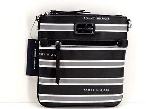 Tommy Hilfiger Crossbody Handbag Black Grey White Stripe New! NWT