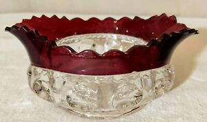 "US Glass King's Crown Ruby Flash 5"" Sauce Dish EUC BOLD"