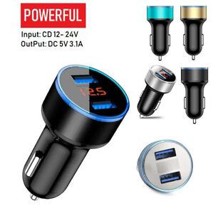 3.1A USB Dual Ports Car Lighter Charger 12V/24V Digital LED Voltmeter