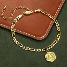 Letter Charm Anklet Stainless Steel 5mm Womens Figaro Chain Hexagon Initial