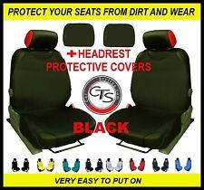 2x CAR SEAT COVER T-SHIRT VEST FRONT + HEADREST BLACK Toyota Yaris