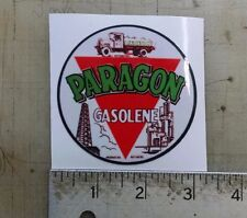 "Vintage Paragon Gasoline sticker decal 3"" dia."