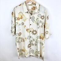 Tommy Bahama Men's Silk Short Sleeve Shirt Large Button Up Floral Hawaiian