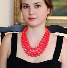 """KATE SPADE """"CUT TO THE CHASE"""" SET NECKLACE & BRACELET BRIGHT HOT PINK FACET BEAD"""