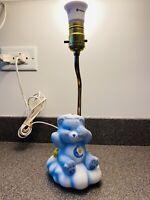 Vtg Care Bears 1983 Bedtime Blue Bear Porcelain Lamp Moon Star American Greeting