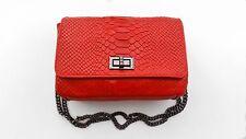Italian Leather Blood Orange Snakeskin effect Link Chain Cross Shoulder Bag
