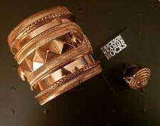 Erickson Beamon Rocks Ant.Gold Studded Cuff Bracelet & Round Rope Ring Size 6