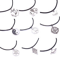 Leather Cord Choker Silver Plated Charm Necklace Pendant Hippy For Women Men