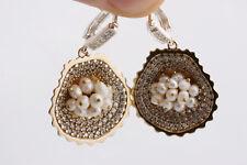 925 Sterling Silver Turkısh Hand Made Pearl Topaz Ear Rings Women