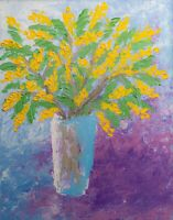 Bouquet of Mimosa Impasto Oil Painting Yellow Flowers Wall Art Floral Still life