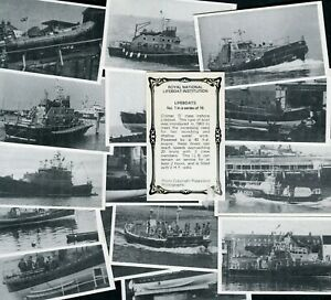 """ROYAL NATIONAL LIFEBOAT INSTITUTION 1979 SET OF 16 """"LIFEBOATS"""" TRADE CARDS"""