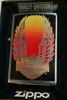 ZIPPO LIGHTER HARLEY DAVIDSON WINGS STREET CHROME FINISH RARE NEW IN BOX 2014