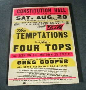 MOTOWN ORIGINAL THE TEMPTATIONS & 4 TOPS GLOBE BOXING STYLE 89 CONCERT  POSTER
