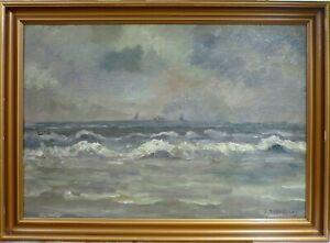 E. WANDBORG! COAST LANDSCAPE WITH SHIPS IN THE SEA