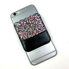 Glitter Multicolor Black Sticky Cell Phone Pocket 3M Wallet Card Holder ID