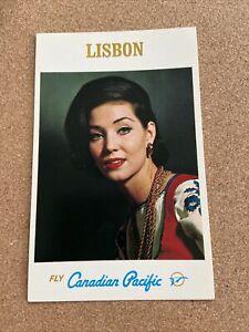 Fly CANADIAN PACIFIC Airlines LISBON Vintage Original Postcard