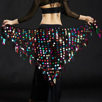 New 2019 Lady  Belly Dance Costumes Hip Scarf Wrap Belt Skirt Sequins triangle