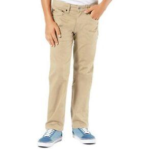New Signature Levi Boys Flex S67 Khaki Athletic Relaxed Slim Leg Pants 7 Reg
