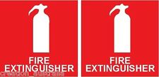TWO FIRE EXTINGUISHER Stickers 100mmx100mm Sign Decal Public Safety OHS WHS
