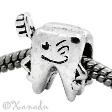Tooth With Toothbrush European Bead For Charm Bracelets - Gift For Dentists