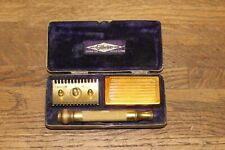 """Antique 1918 Gillette Gold Comb """" Canadian Army Issue"""" W/Ornate Brass Case"""