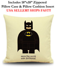 "18x18 18""x18"" BATMAN LEGO MAN MINI Throw Pillow Case & Cushion Marvel DC Comics"