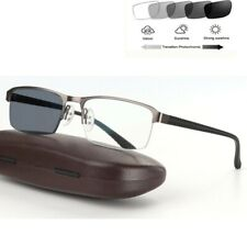 Mens Transition Photochromic Reading Glasses Half Rimless Sunglasses Readers UV