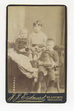 1880's-1890's CDV PHOTO CHILDREN WITH SOLDIER ON HORSEBACK TOY, SAILBOAT, DOLL
