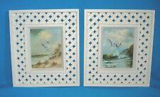 Vtg Homco Home Interiors Seashore Print Lattice Frame