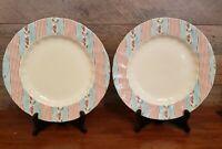 "Set of 2 Johnson Bros Farmhouse Chic 10.5"" Silky Stripe Dinner Plates EUC"