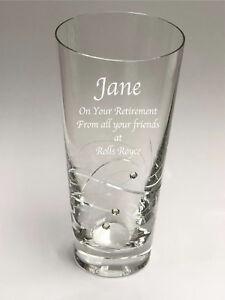 Personalised Engraved Diamante Crystal 20cm Swirl Vase Retirement Thank You Gift
