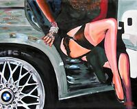 SEXY LEGS SPORTS CAR Original Art Painting DAN BYL Modern Contemporary 4x5 feet