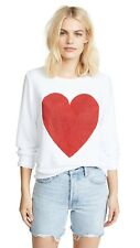 New Wildfox Couture Red Sparkle Heart Baggy Beach Jumper White Pullover, sz. xs