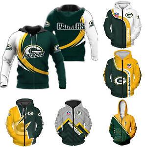 Green Bay Packers Mens Zip up Hoodie Sports Sweatshirt Casual Hooded Jacket Coat