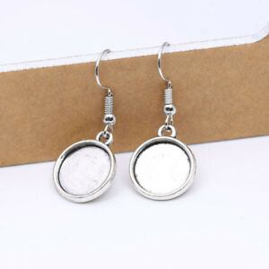 Silver Cabochon Earring Base Round Cameo Settings French Lead Nickel Free 12mm