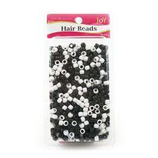 (0,01€/1Stk) Annie Joy Hair Beads Schwarz/Weiß 1000 Stück Haarperlen