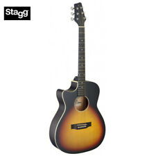 Stagg SA35 LEFT HAND Cutaway Acoustic Electric Guitar Sunburst, Built In Tuner