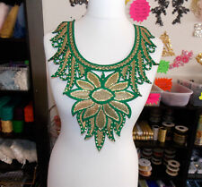 gold green crystal sequin lace YOKE chest applique motif moroccan arab asian
