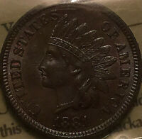 1881 USA INDIAN HEAD SMALL CENT PENNY - ICCS MS-63 Uncirculated
