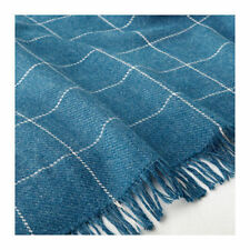 "Ikea Varkrage Throw Blanket 43x67"" Dutch Blue Heather Plaid washable New Fresh"