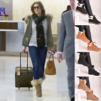 Ladies Womens Winter Fur Snow Ankle Boots Lace Up Warm Casual Flat Shoes Size