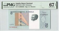 Angola 2012 P-151A PMG Superb Gem UNC 67 EPQ 5 Kwanzas