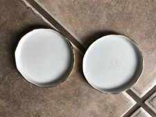 Ceramic Coasters ? Group Of Two White Raised Gold Trim
