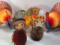 1986 Thanksgiving Beistle Honeycomb & Amscan Decorations SET Lot Turkey Pilgrim