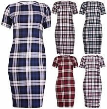 Womens Plus Size Check Printed Ladies Stretch Short Sleeve Midi Dress Long Top