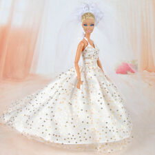 Handmade Dolls Clothes Wedding Dress Party Gown With Veil For Barbie Dolls A
